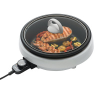 3 Quart 3-in-1 Grillet Circular Design with White Cool Touch Housing