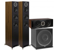ELAC Debut Reference 3.1 Channel Home Theater System Bundle - DFR52 Floorstanding Speakers - Pair - Black/Walnut with DCR52-BK and ELAC Subwoofer SUB3010