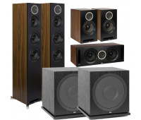 ELAC Debut Reference 5.2 Channel Home Theater System DFR52 Tower Speakers- Pair - Black/Walnut Bundle With DCR52-BK + DBR62-BK + 2 ELAC Subwoofer SUB3030
